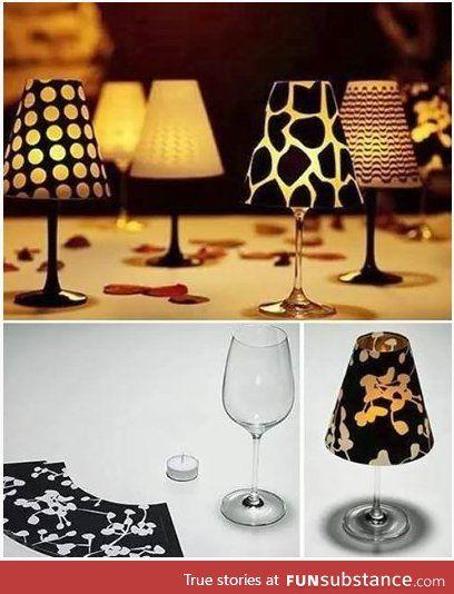 Lampen mit genähten Lampenschirmen aus Weingläsern