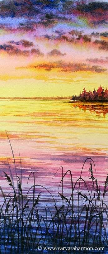 Sonnenuntergang In Aquarell Akvarelnye Pejzazhi Risunki