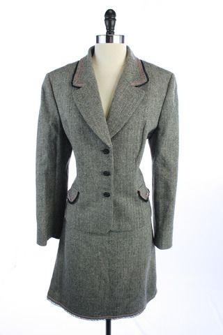 Recycle Your Fashions TAHARI Black WOOL Blend HERRINGBONE 3 Button BLAZER Jacket SKIRT SUIT XL 16