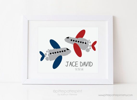 Travel Nursery Art Airplane Baby Footprint By