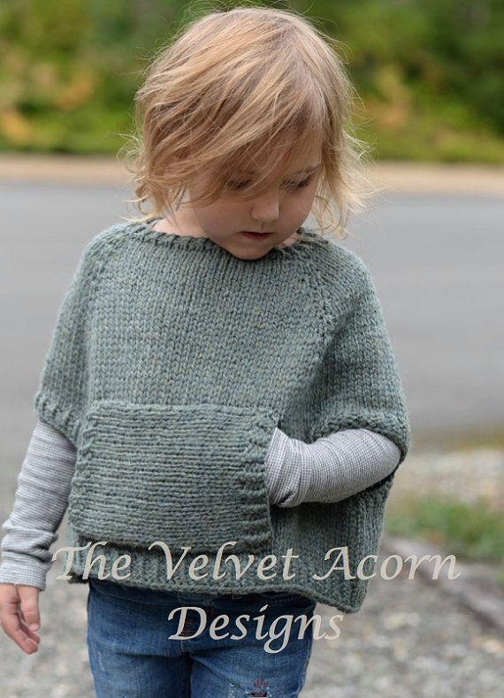Knitting Pattern - Odila Cape Pullover (2/3, 4/5, 6/7, 8/9, 10/11 ...