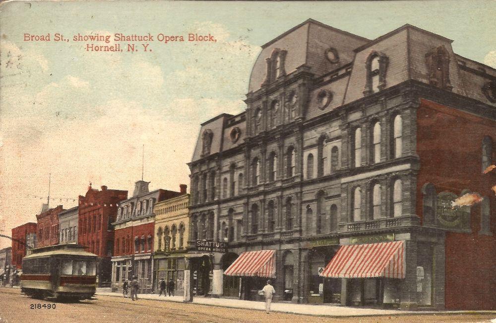 Hornell New York Broad Street Showing Shattuck Opera Block Trolley 1914 Broad Streets Postcard Opera