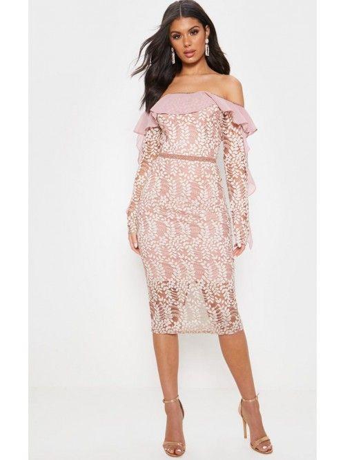 Dusty Pink Bardot Lace Frill Sleeve Midi Dress #cocktailattireforwomen