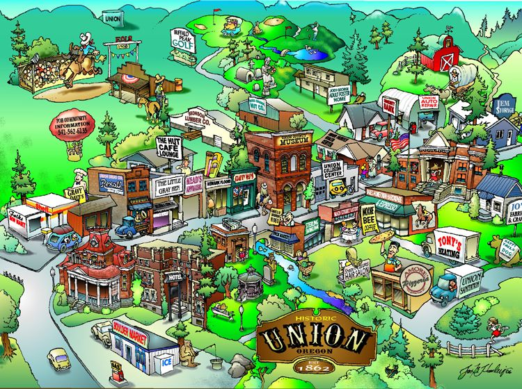Cartoon Map of Union by Jon Hanley Sadly most businesses are