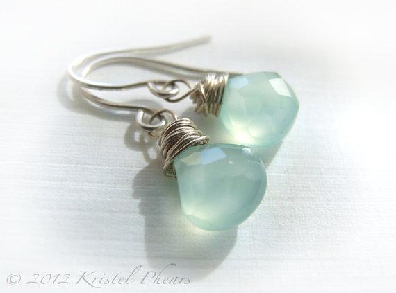Aqua Chalcedony earrings in Sterling Silver by Kris P Studio