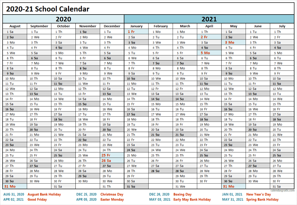 2020 2021 School Calendar Template | Academic Calendar 2020/21 in