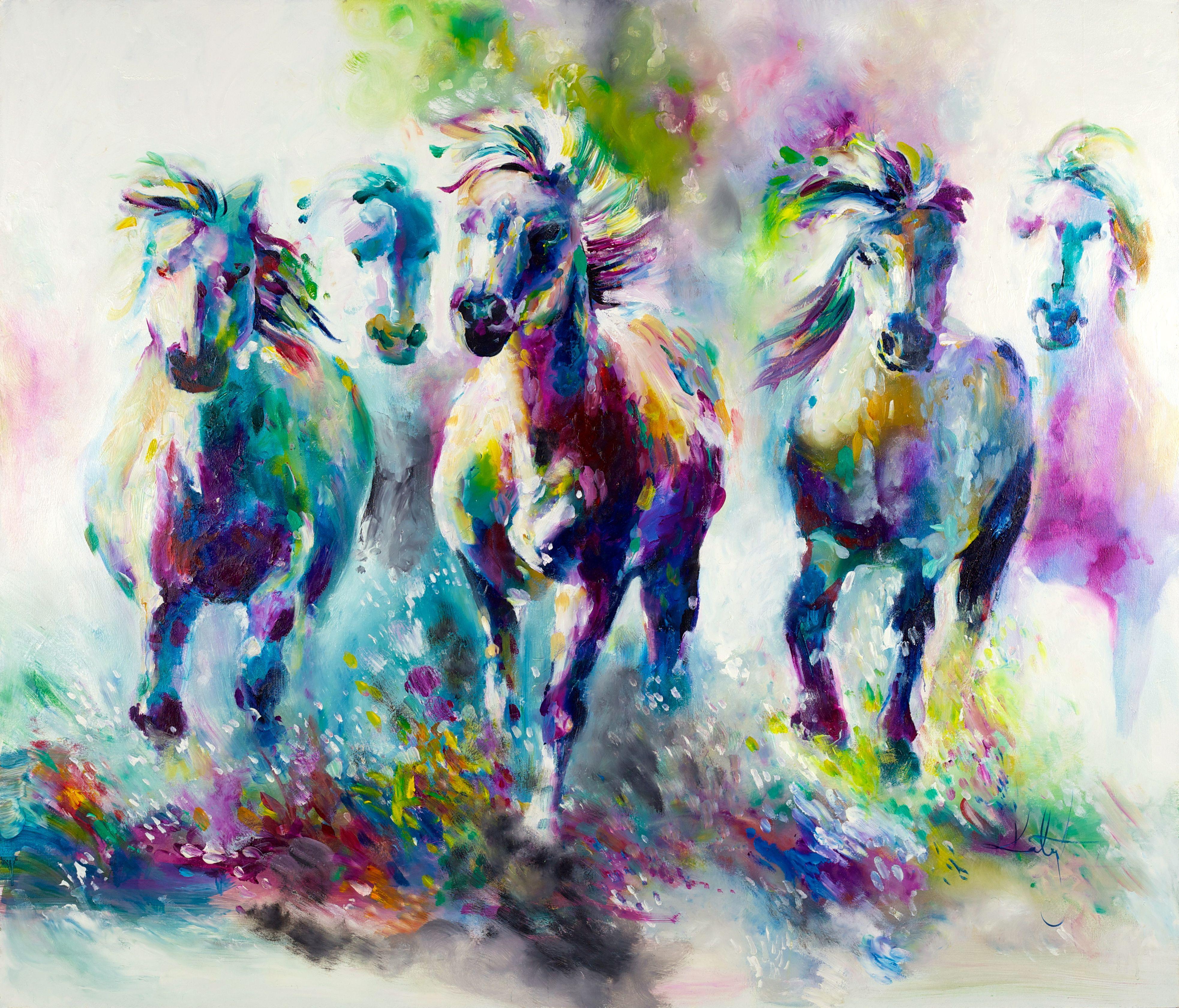 Framelessoil Paintings Canvas Colorful Buddha Sitting Wall: Katy Jade Dobson 'Chroma Equus' Oil Painting