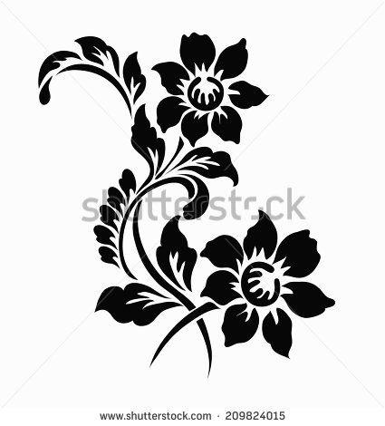 Flower Motif For Design Motif Design Flower Stencil Henna Stencils