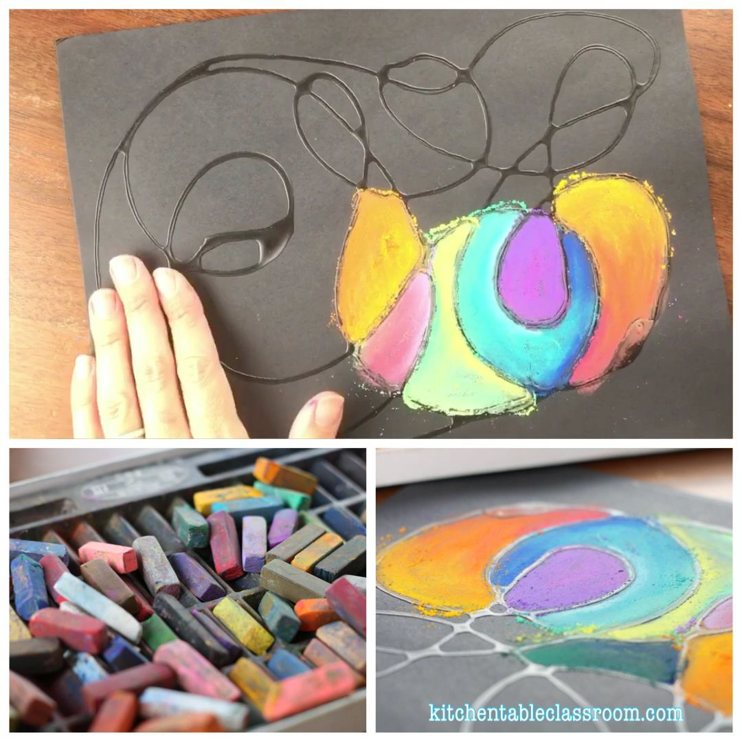 Glue Drawing with Chalk