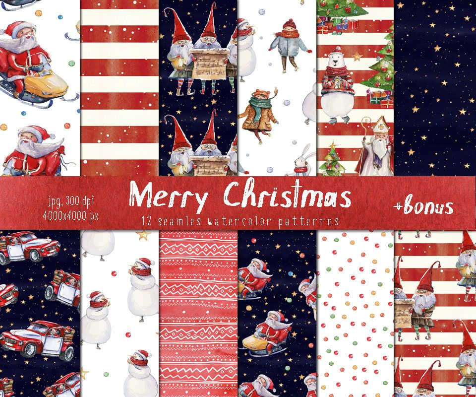watercolor christmas seamless patterns sheets backgrounds new year holiday mix wrapping paper santa
