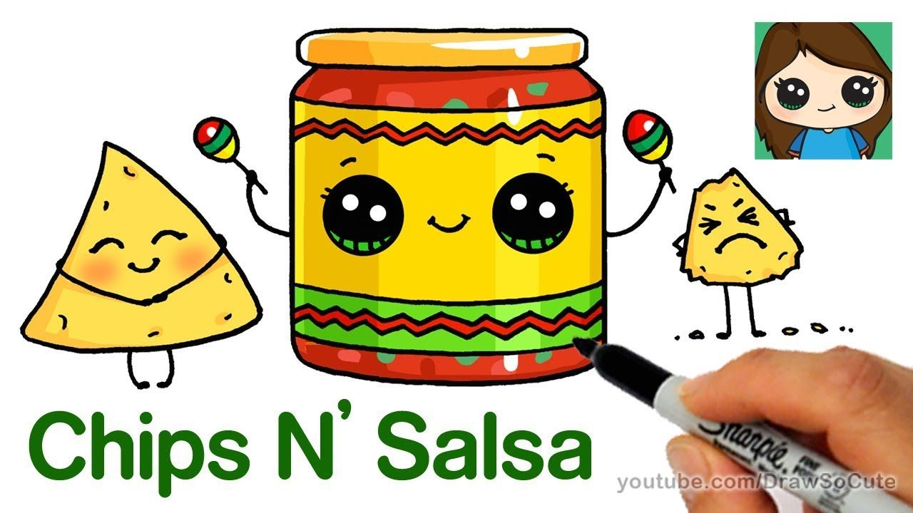 How To Draw Chips And Salsa Easy Cute Snack Food Cute Food Drawings Cute Drawings Cute Cartoon Drawings