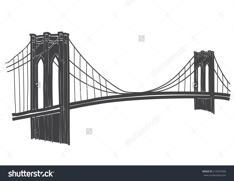 Brooklyn Bridge Drawing Stock Vector Illustration 213437068