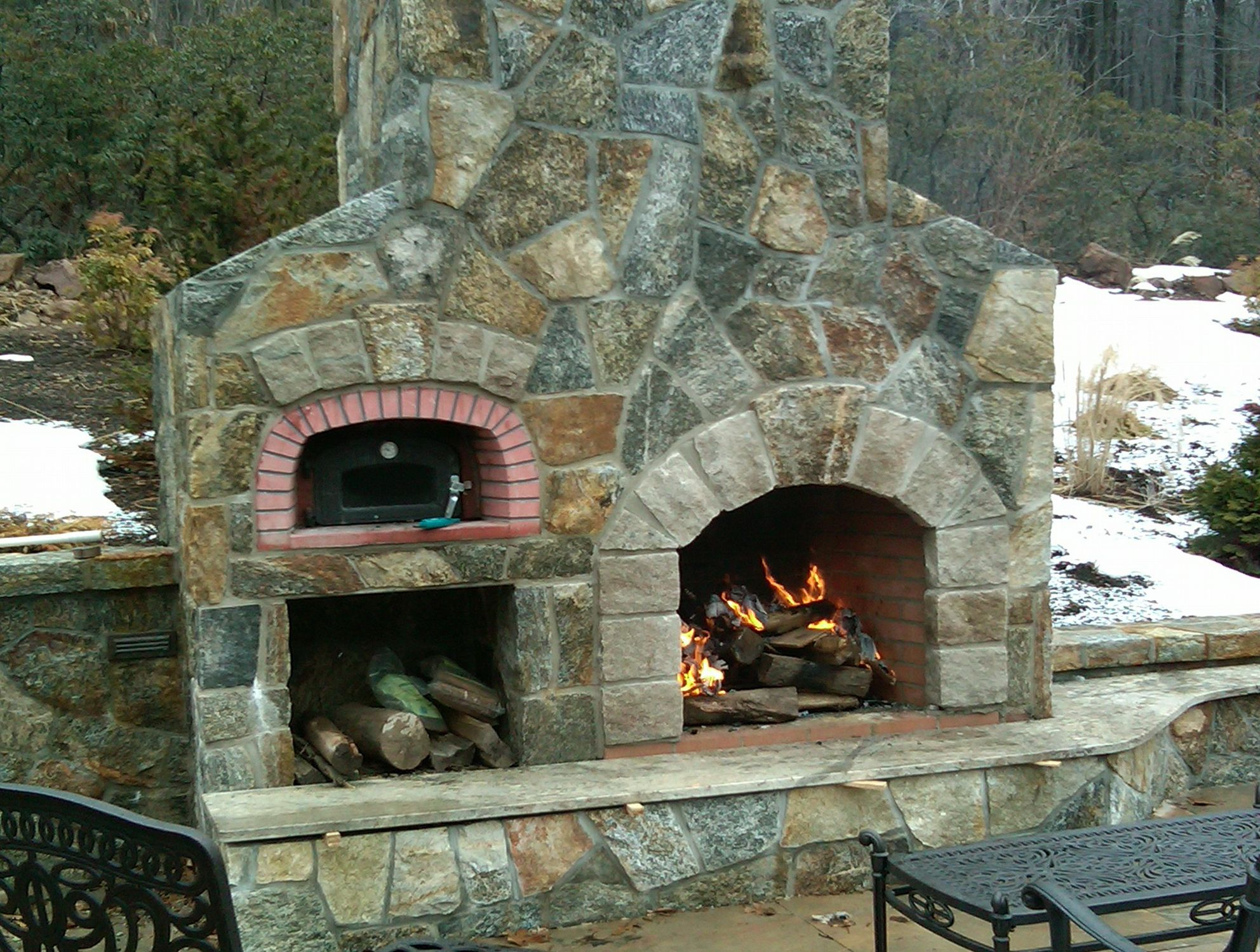 Outdoor Fireplace With Pizza Oven Above Outdoor Fireplace With