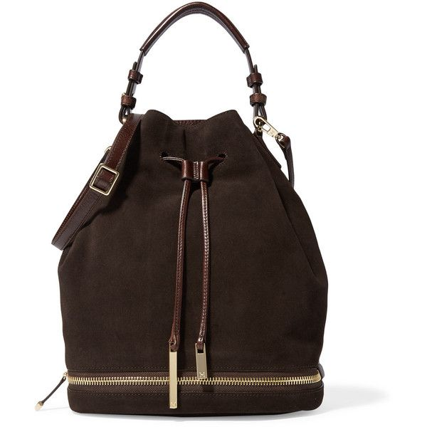 Halston Heritage Suede and coated-leather shoulder bag (£172) ❤ liked on Polyvore featuring bags, handbags, shoulder bags, dark brown, brown handbags, dark brown shoulder bag, top handle purse, shoulder bag handbag and dark brown handbags