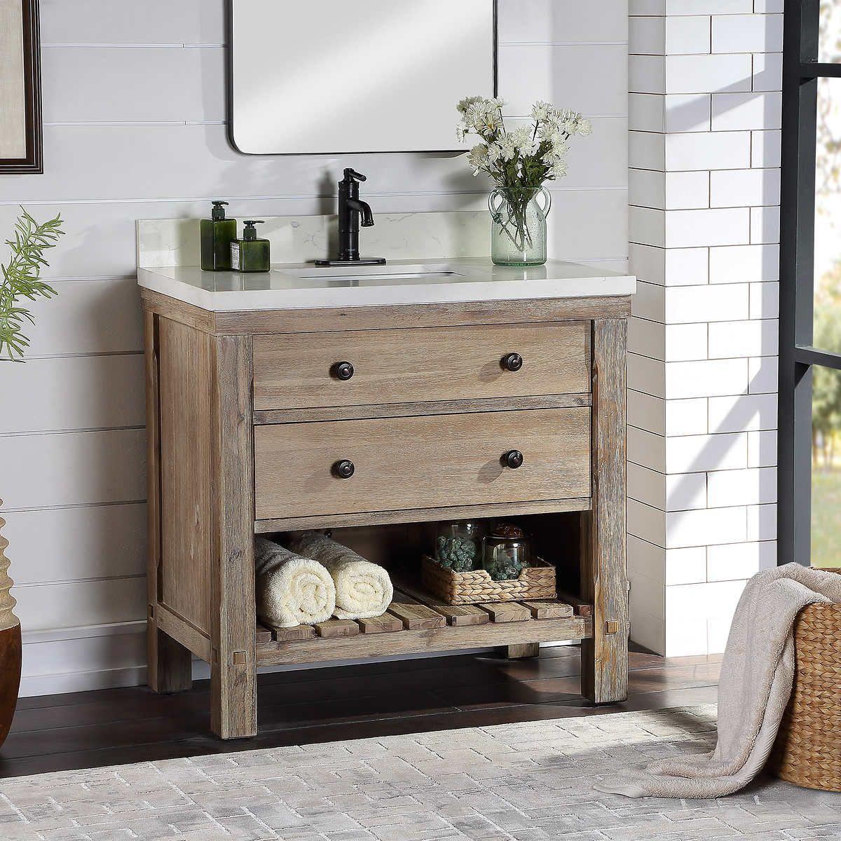 Pin By Adrienne Reed On Basement Bathroom In 2020 Single Sink Vanity Single Bathroom Vanity Rustic Bathroom Vanities