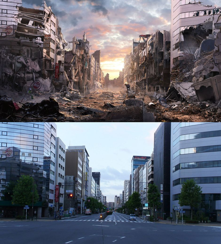 Tokyo matte paint anime by jacek irzykowski matte for Matte painting