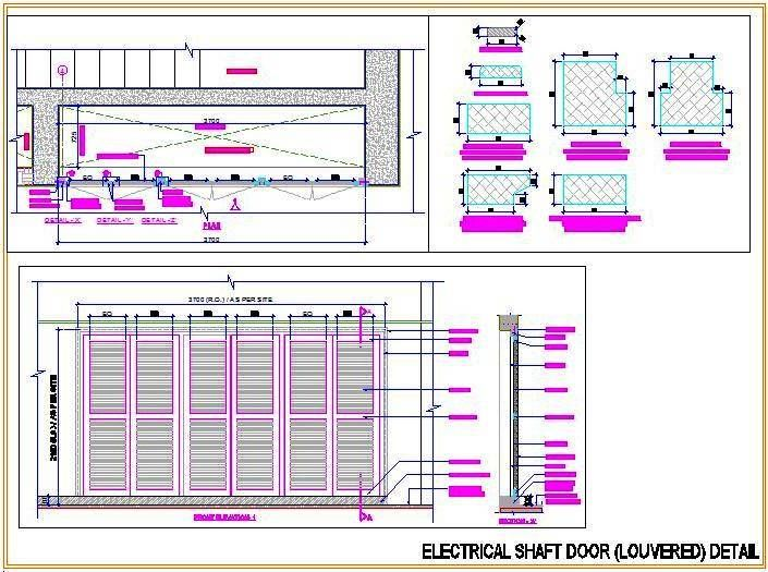 autocad drawing of electrical shaft door detail designed in wooden