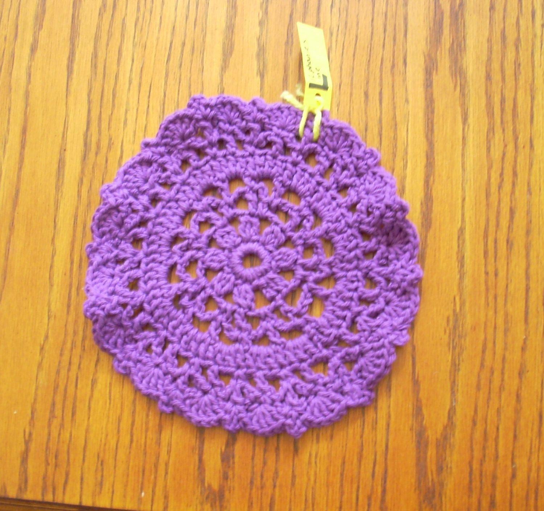 9 purple doily crochet doily cotton yarn dishcloth teen dorm