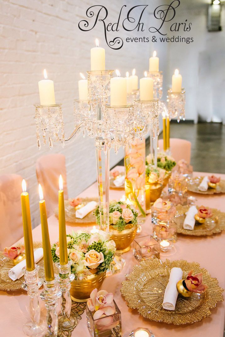 Blush And Gold Wedding Table Setting Orchids Decor Candles Candelabra