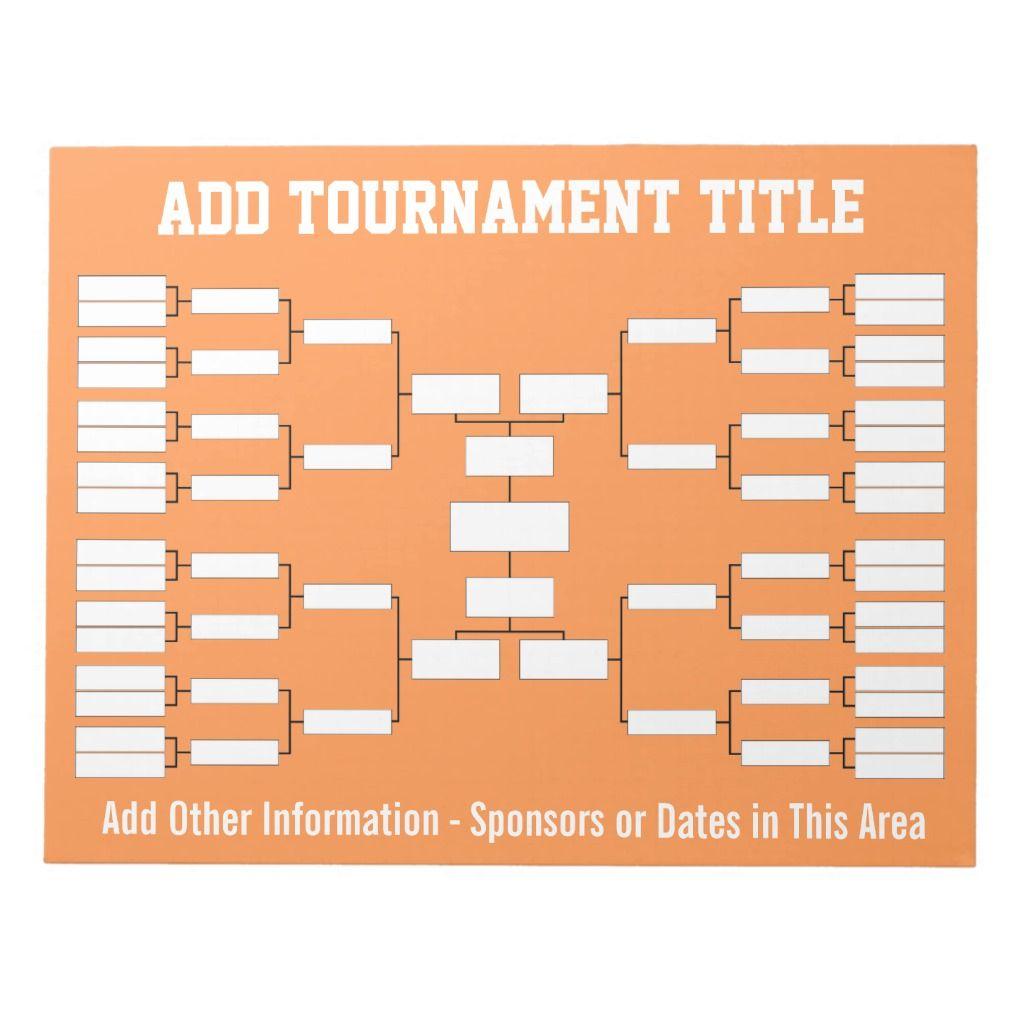 Sports Tournament Bracket Notepad Zazzle Com Sports Tournaments Custom Notepad Note Pad