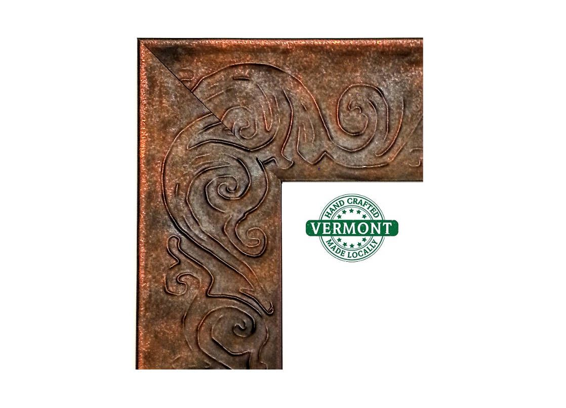Wide Stamped Copper Picture Frame Primitive Whimsical Motif Handmade In Vt Wood 20x24 Picture Frame Custom Size Frames Picture Frames Copper Photo Frame