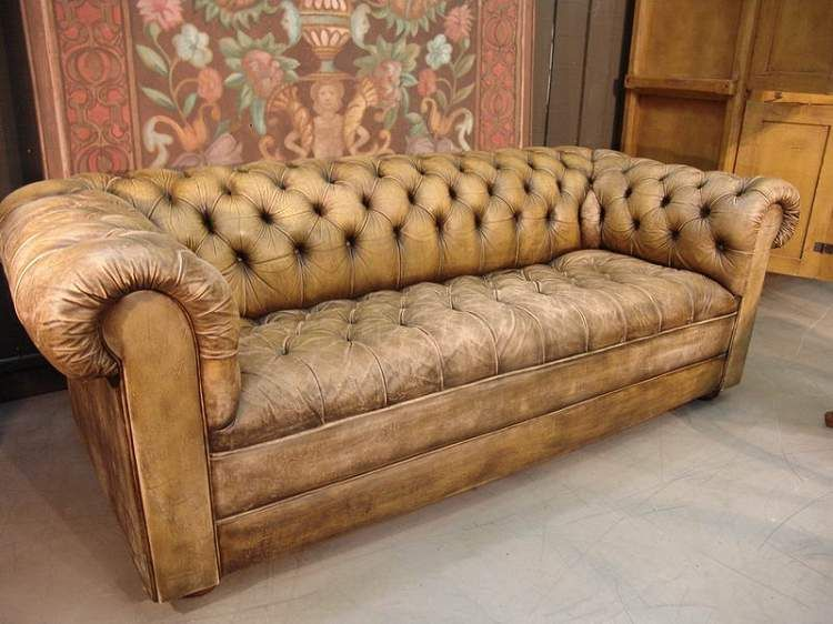 1950 French Vintage Leather Chesterfield Sofa 86 75 W X 39 5 D