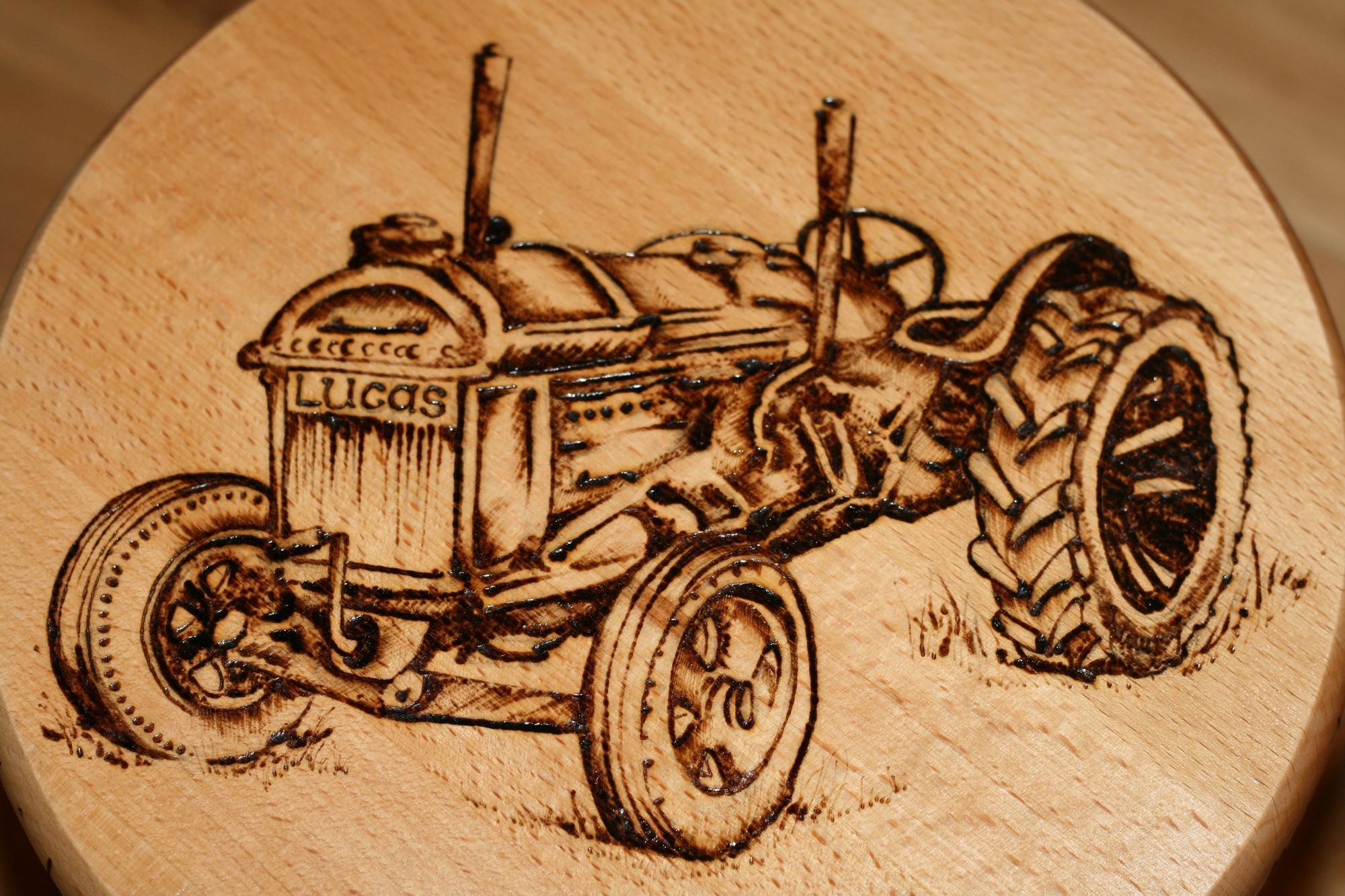 decorated with pyrography | art of decorating by burning designs into wood or leather objects