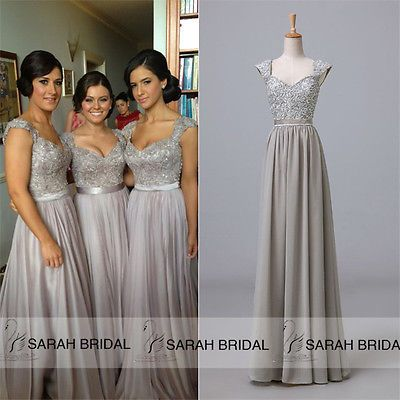 Cap Sleeve PLUS New Formal Party Gown Bridesmaid Chiffon Evening Prom Maxi Dress