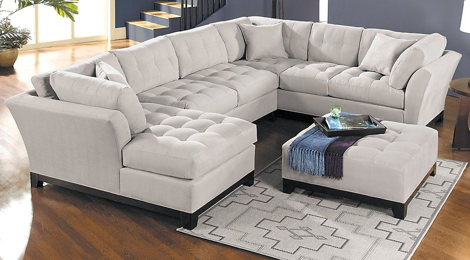 Cindy Crawford Home Metropolis Platinum 3 Pc Sectional For