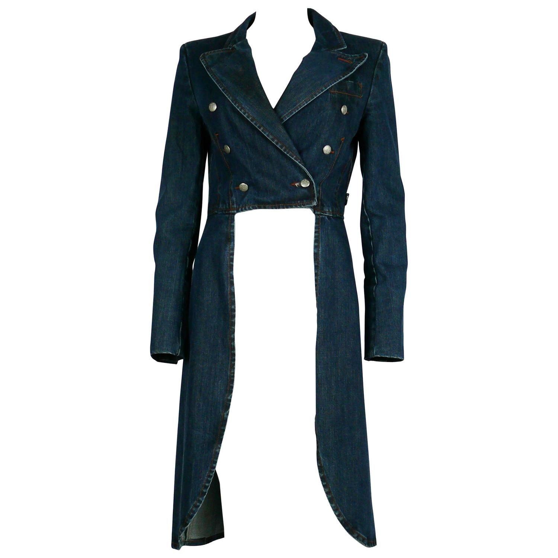 Jean Paul Gaultier Denim Tailcoat Cotton Anorak Jacket Lined Denim Jacket Jean Paul Gaultier