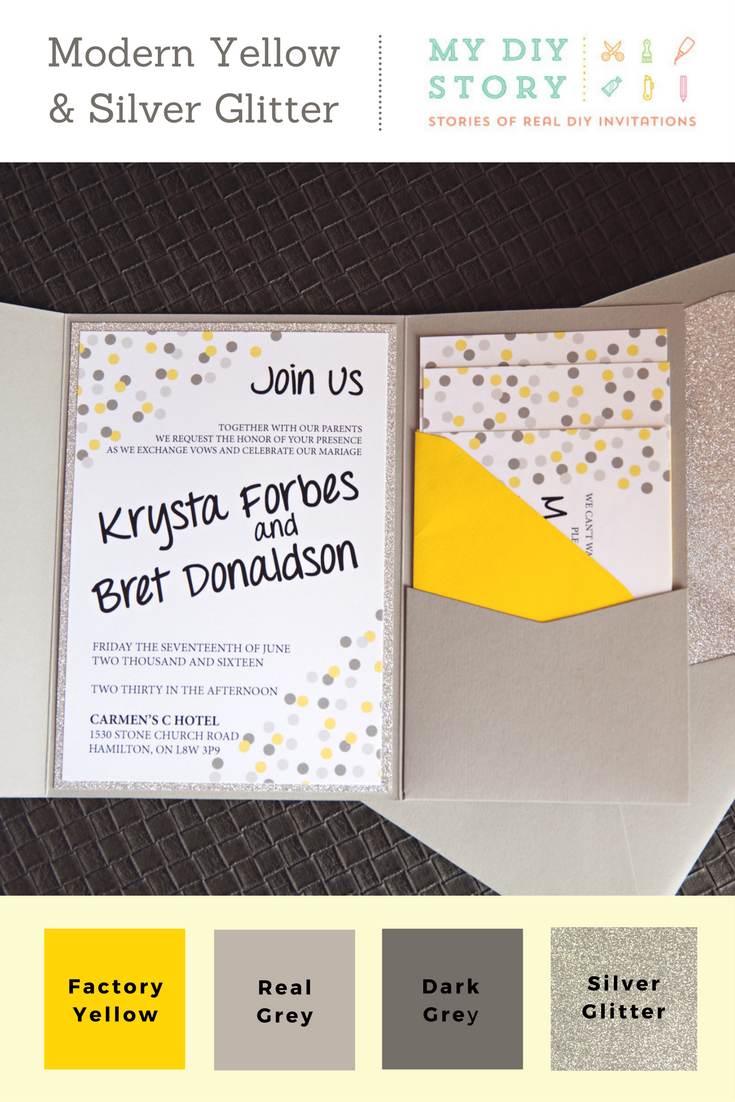 Real Diy Wedding Invitation Modern Yellow Silver Glitter
