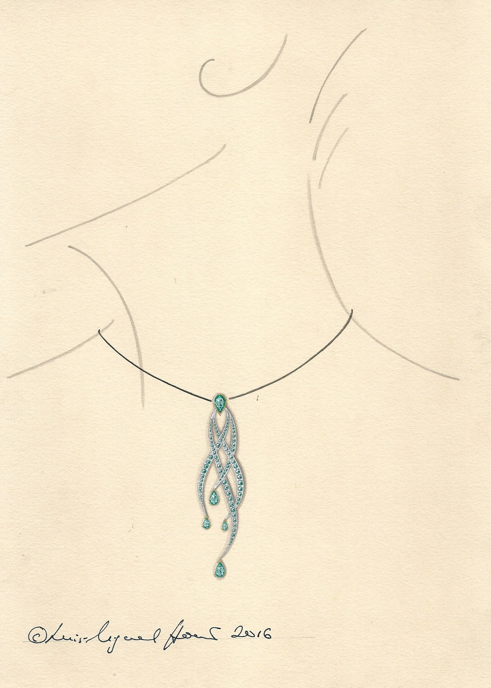 Design for an emerald pendant, in asymmetrical style, with emerald drops. Rendered in gouache and Chinese ink.