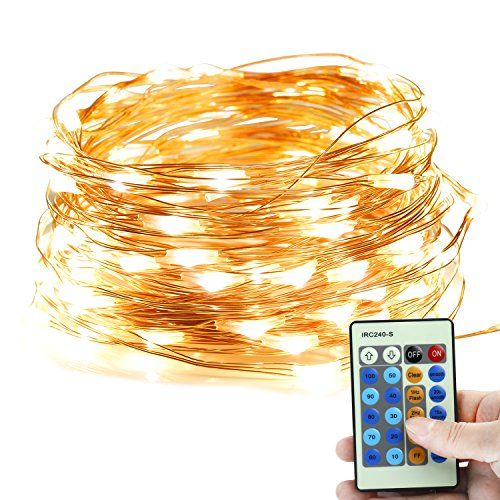 FlePow 33ft LED String Lights 100 LEDs Dimmable Copper Wire Starry String Lights Warm Whiteyellow Indoor Decor Rope Lights for Garden Patio Wedding Tree Party Christmas *** Check out the image by visiting the link.