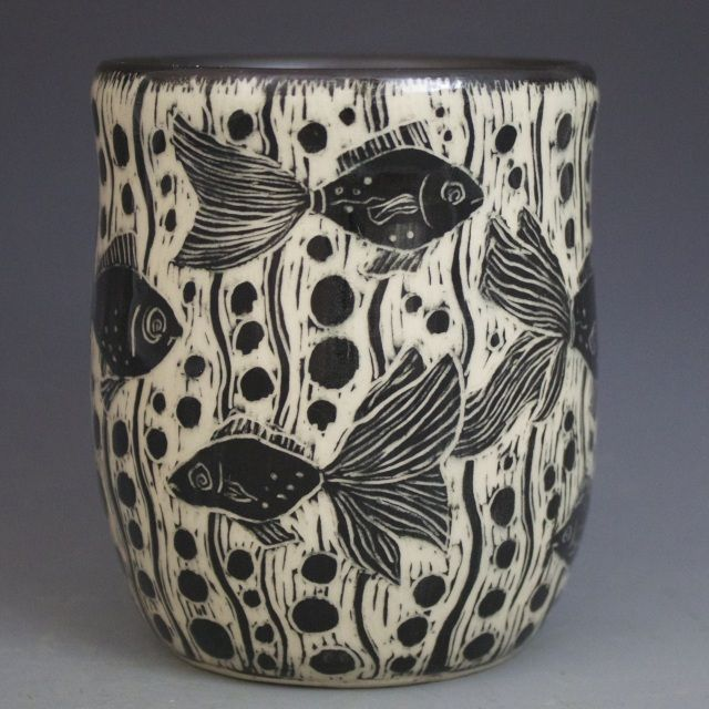 Black and white hand-etched stoneware pottery, made by California artist Patricia Griffin.