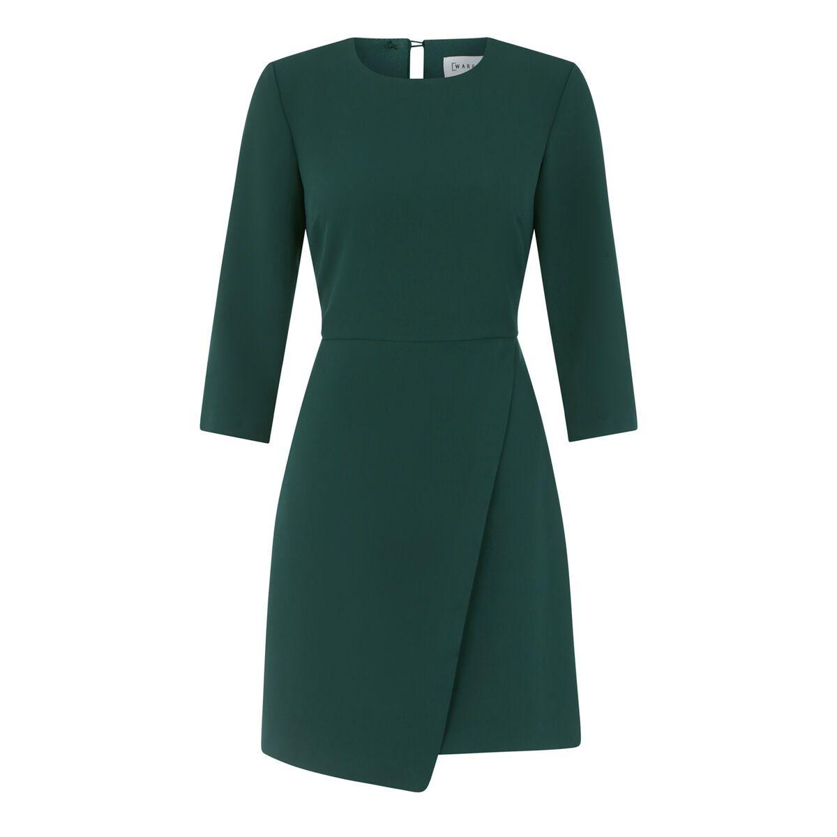 Warehouse 3 4 Sleeve Wrap Dress Dark Green 0 Wrap Dress Wrap Dress Midi Black Wrap Dress [ 1200 x 1200 Pixel ]