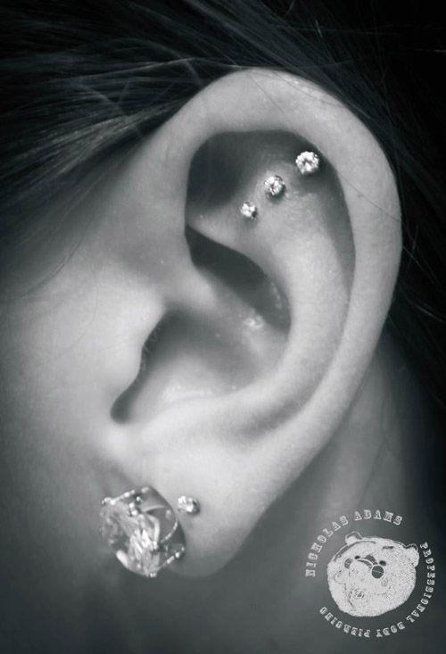 triple cartilage piercing nicholas adams | Dang ...