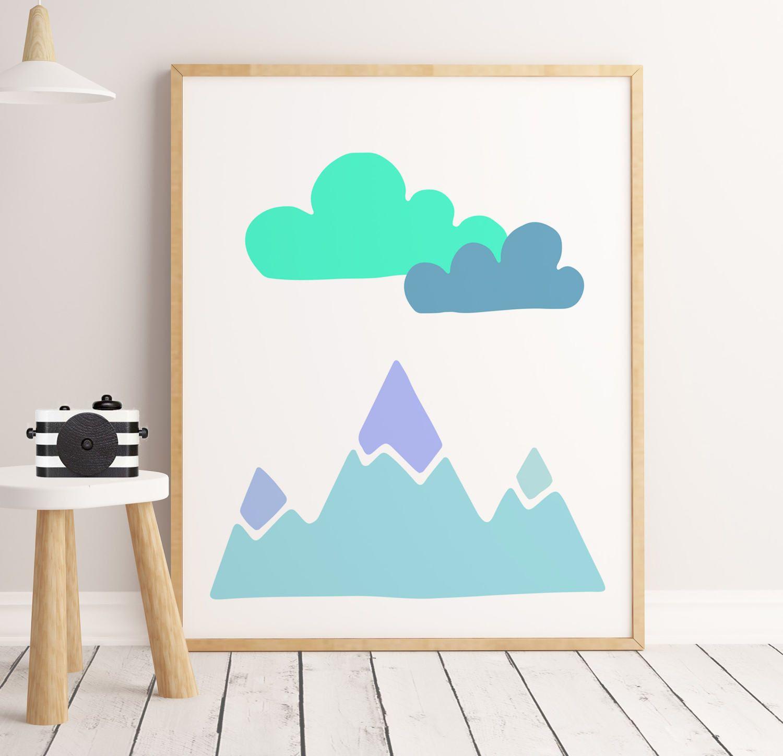 Boys Room Art, 50% Off Sale, Mountains Nursery Print, Kids