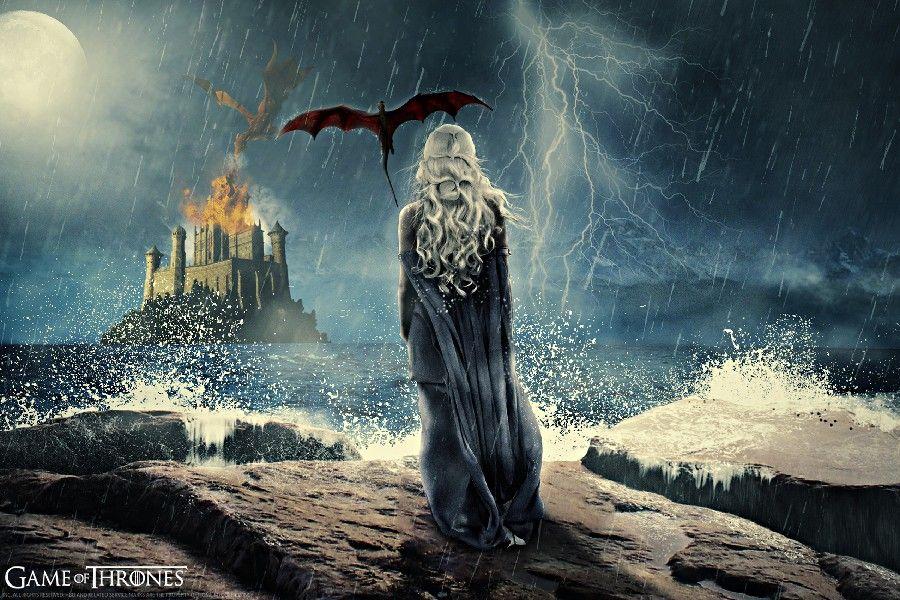 DIY frame Game of Thrones TV Series Daenerys Targaryen & Her Dragons ...