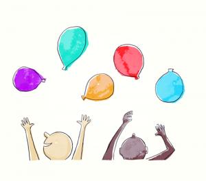 - Não deixem cair os balões. - A árvore das férias.