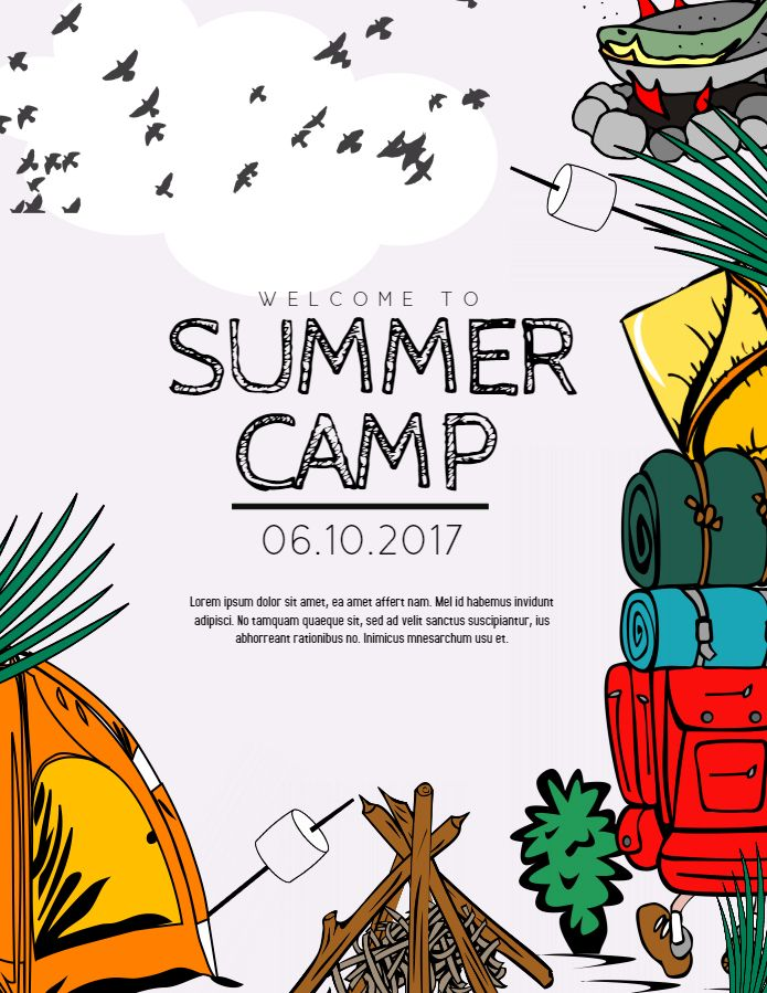 Summer camp ad flyer poster social media template.