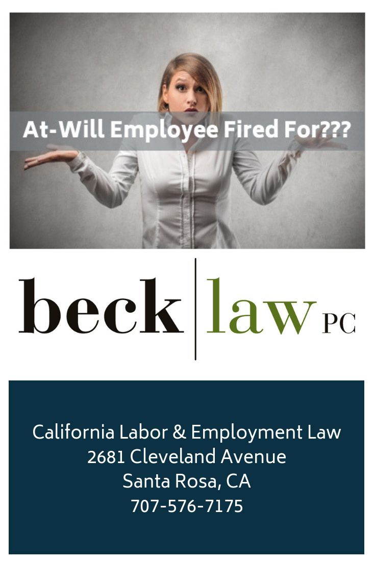 AtWill Employee in California and Suspicious Firings