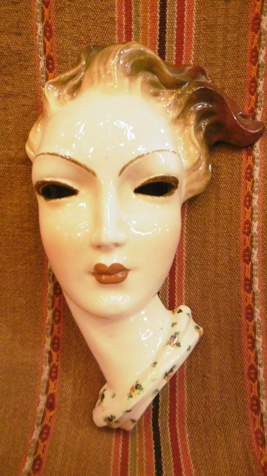 Antique Italian Art Deco Ceramic Wall Mask Female Woman Head ...