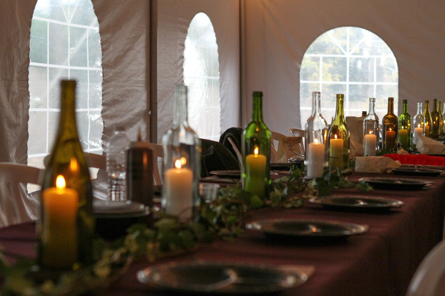 12 Cut Wine Bottle Centerpiece Lanterns for Weddings and