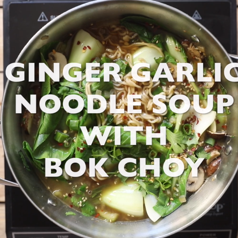 Ginger Garlic Noodle Soup with Bok Choy (Bok Choy Soup) - The Forked Spoon