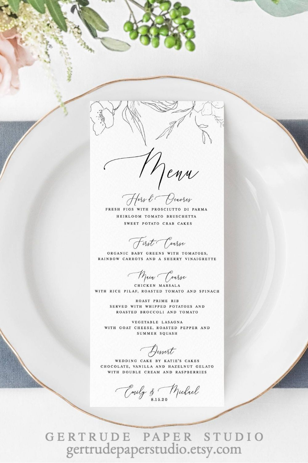 Fine Art Wedding Menu Digital Download Vintage Wedding Etsy In 2020 Elegant Wedding Menu Wedding Menu Template Bridal Shower Menu
