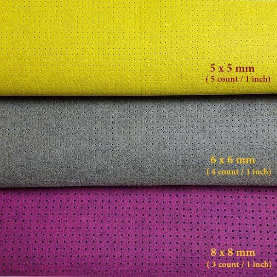 Modern Cross Stitch Art Fabric Needlepoint Embroidery Cloth Wool Felt Punched Big Hole 6 x 6 mm Spac
