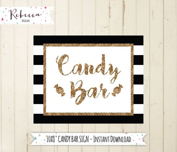 Candy Bar Sign Printable Buffet Black And White Gold Wedding Dessert Table Take A Treat By RebeccaDesigns22