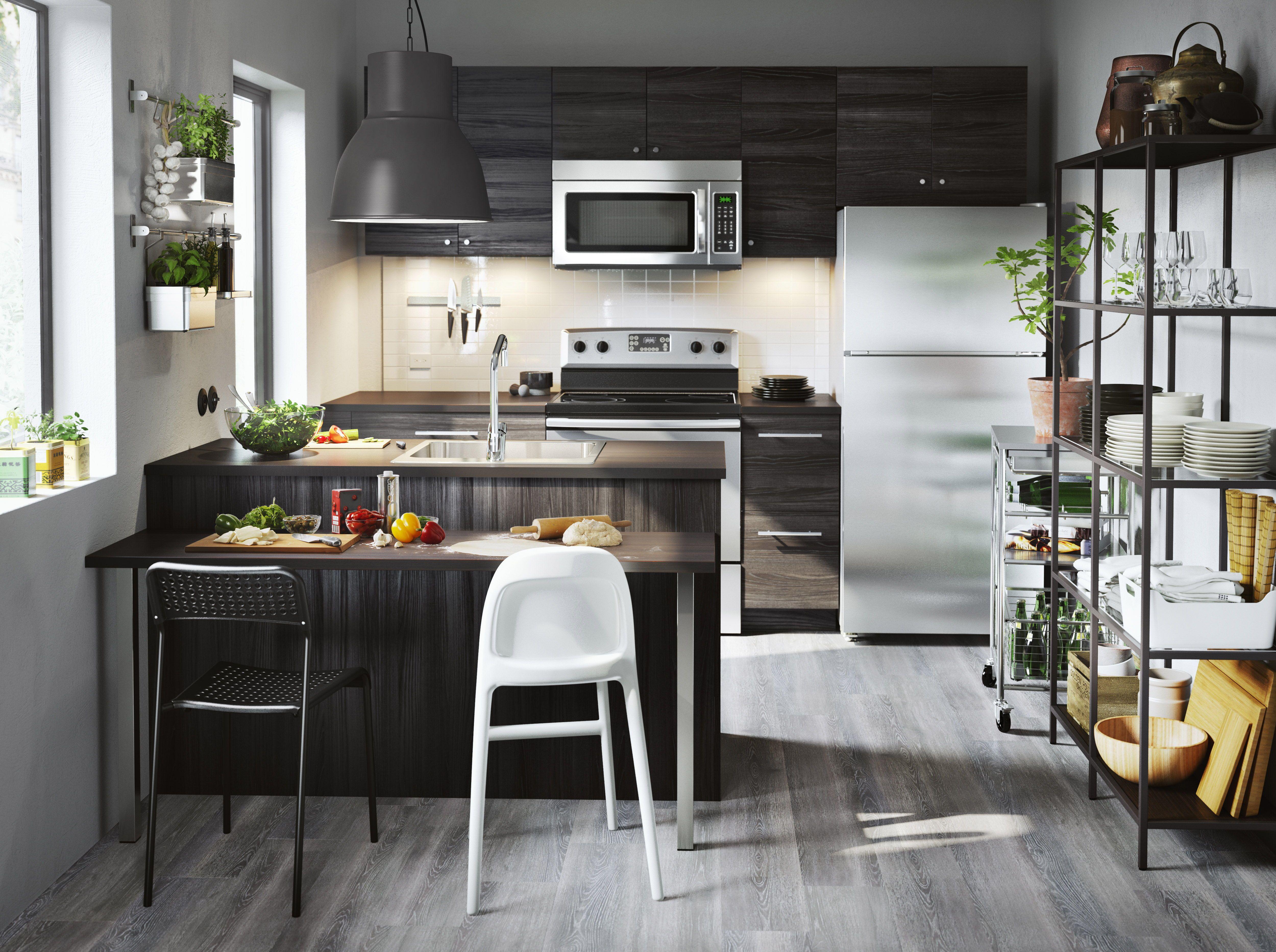 Keuken Ikea Open : Tingsryd deur houteffect zwart keukens kitchen ikea kitchen