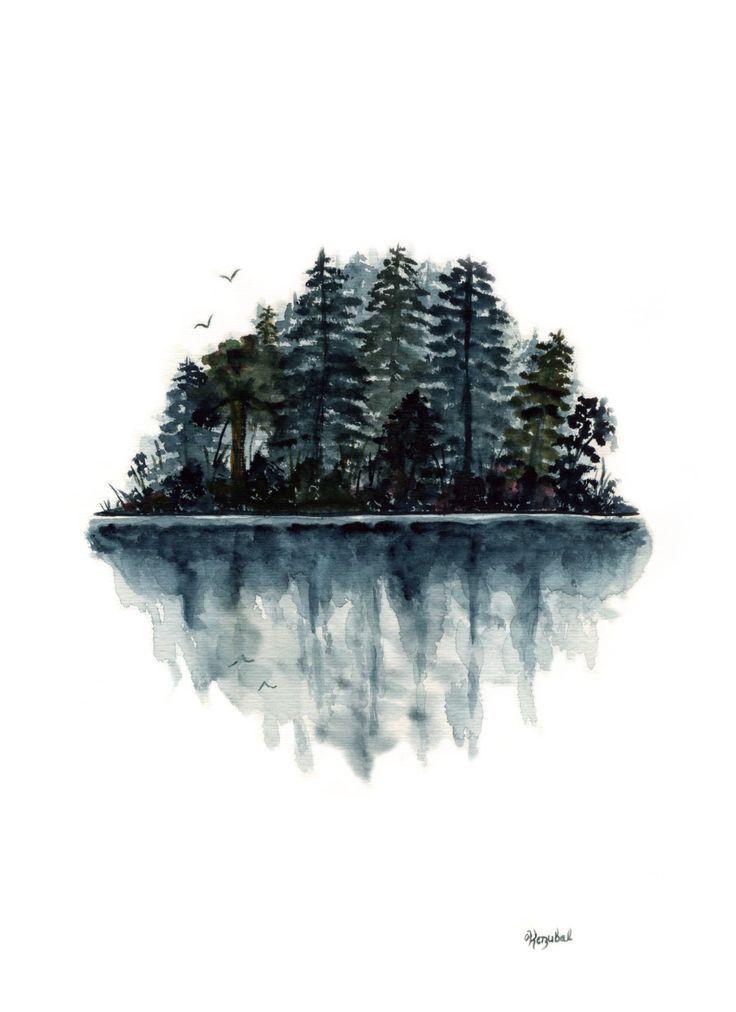 Ursprüngliche Aquarellmalerei Forest Lake Reflexion Vögel Landschaft Wasser Tannenbäume Blau Grün Schwarz Silhouette 9 x 12 Abstrakte Moderne Kunst – Künstler