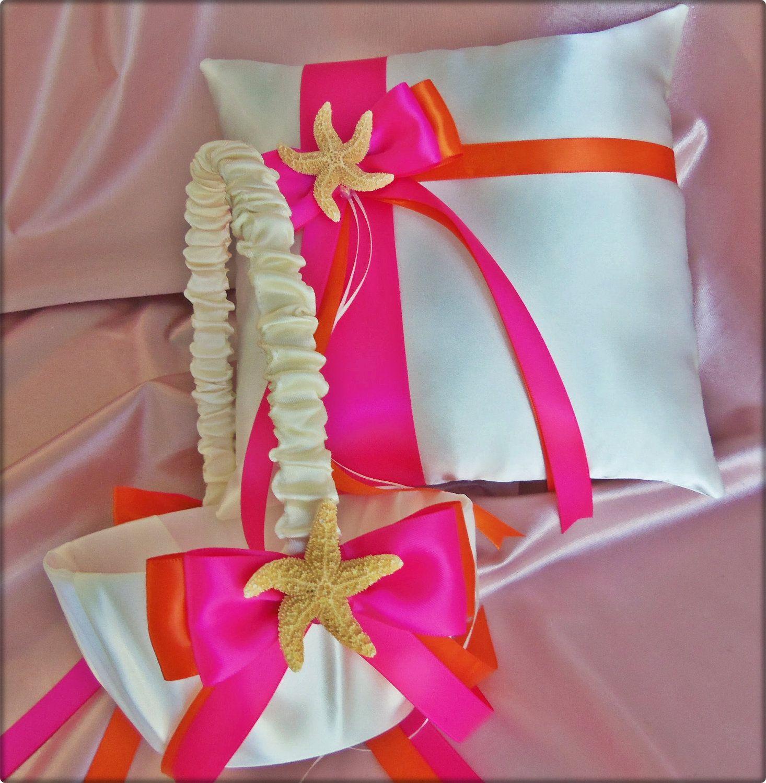 Starfish Beach Wedding Ring Pillow Basket - Hot Pink Orange - Flower ...